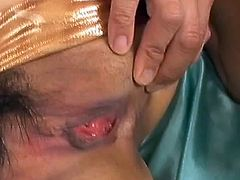 Saya Natsukawa blindfolded and her shaved grumble punished