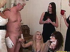 Classy CFNM femdom matures wank guy off and love to see him jizz