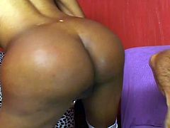 Black shemale with awesome ass drilled in his tight asshole.