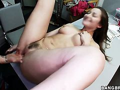 Dani Daniels gets her mouth attacked by guys beefy sturdy meat stick