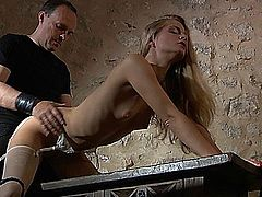 Cayenne Klein loves bdsm punishment and bondage deep fuck. With her hands tied, legs open and ass slapped, she screams of pleasure. Her ass turns red under the whipping and slapping of her master. Submission slave girl gets restrained and suffers pain for a further bondage pleasure.