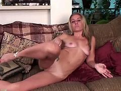 She is so laid back but so naughty. This lovely blonde mature Sky enjoys masturbating more than anything else. Being a widow and all that, she started to fall in love with her fingers caressing her big pussy.