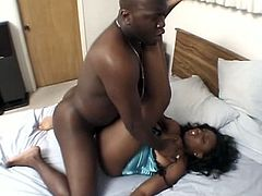 Horny busty babe gets her tight cunt fucked by huge black cock.See how this brunette ebony babe getting her tight pussy fucked deeply by her black lover babe.