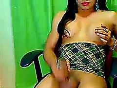 Horny tranny strokes her big dick upclose to her cam jerking herself really hard till she almost explodes her white hot jizz.