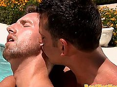Muscular intense stud ass fucked outdoor