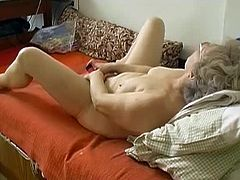 Chubby granny got horny all of a sudden and she is a widow so she got company, her pink dildo who are servicing her pussy pleasuring for years by caressing her old hairy cunt.