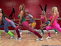 Cfnm action at yoga class with Raquel and her hot pals all wearing sexy workout gear