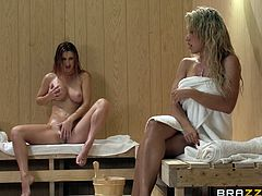 Capri Cavanni and Karlie Montana enjoy themselves as much as they love to be in the hot sauna fuck action licking and fingering their pussies.
