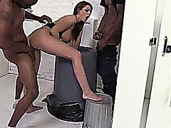 Brooklyn Chase's days of living on the edge may have just caught up with her. The busty slut is in dire need of using the ladies room. However, it's locked and the mens room is her only option. Once inside , Brooklyn's panties drop to the filthy floor. One thing leads to another and waves of black guys come and go. However, they're more interested in the black cock clut than the urinals they intended to use. When it's all said and done about a dozen black cocks have their way with the bathroom whore.