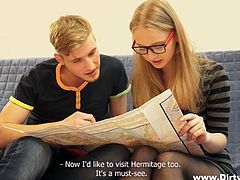 The blonde-haired lady wearing glasses gets wild in this video. The horny lover not only helps his nerdy girlfriend to learn, but also undress and relax on the comfortable couch. Alice lays down in a sensual position, allowing access to her tight pussy. Watch her enjoying the oral sex and getting aroused.