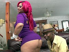 This dirty girl is looking freaky and sexy with her pink hair and ebony skin. she is down on her knees to suck on her boyfriend's massive black dong. Her booty shakes as she rides on top of her big dick.