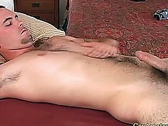 Close up cock of a straight amateur jock being handled by gay masseur
