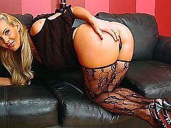 Slutty blonde in sexy stockings has her man fuck her pussy while she deeply fingers her ass.