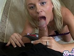 Wonderful blonde with natural tits pose seductively before giving her horny guy a superb blowjob till she gets a facial cumshot in a pov shoot