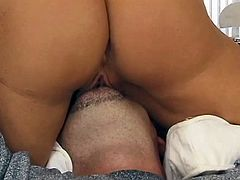 Two hot ladies love to suck a huge cock for a blowjob deepthroat and their big juicy tits and wet shaved pussies gets licked and fingered hardcore.
