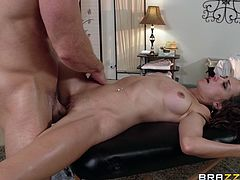 Foot fetish babes with natural tits in panties gives her guy blowjob then gets her juicy shaved pussy drilled hardcore in a close up shoot