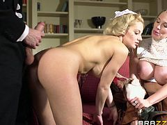 Wonderful maid in uniform displays her big tits then gets her juicy pussy hammered hardcore doggystyle in a threesome sex