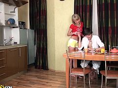 He was tanking his breakfast when suddenly his horny wife came in the kitchen to seduce him. First she refused, but she kissed his hand and begging him to give her that cock. She sucked him a bit just to make him hard then he start to fuck her from behind. This slutty wife wants it deep. See all the fuck here!