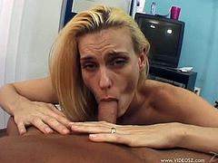 Appealing cougar with natural tits showcase her shaved pussy before giving her horny guy blowjob till she gets facial cumshot in a pov shoot