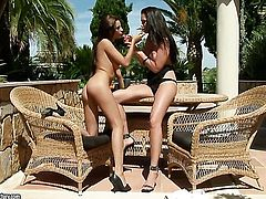 Brunette with juicy hooters getting her dripping wet muff pie rubbed by lesbian Sandra Shine