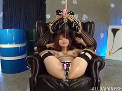 Beautiful Japanese with Natural tits and in panties gets tied up while creamed they use Vibrator in her Hairy Pussy as she moans and fucked hard in a MMF Threesome