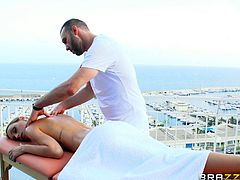 Erica Fontes wanted to get more than just an oiled massage outdoors but she likes to suck the huge dick and rides it pussy hardcore.