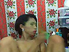 Big Cock Asian Tranny masturbating her dick while she slides her toy inside her ass like she was getting anal fucked. She got pleased so much that it made him unload and cum on her hands