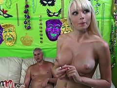 Extremely busty blondie Rikki Six gets mish fucked before facesitting her man
