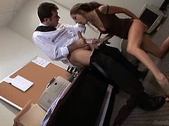 Jenna Haze is on her knees, blowing James Deen's big cock. He is her boss and she is willing to do her job perfectly, even if that includes deepthroating a big cock.