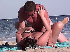 Mature Couples Relax on a nude-beach and get turned on. Eventually they perform a hand- or blowjob, or are fucking