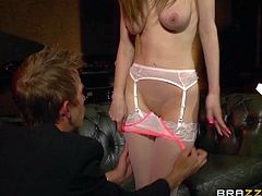 Tall leggy girl Stella Cox in tempting white stockings gives sensual blowjob to big dicked Danny D before she gets her bald pussy penetrated. His sausage is too big for her tight love tunnel.
