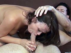 This long hair brunette loves to take a huge cock in her mouth for a nice suck in a better blowjob and gets her shaved pussy fucked hardcore.