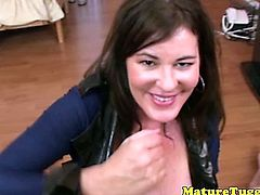 MILF jerking lover giving rub session to lucky dude