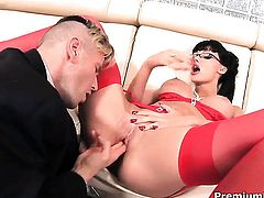 Aletta Ocean feels intense sexual desire while getting her face covered in cock juice