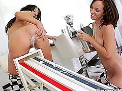 Squirting fetish enema lovers creamy fun in the kitchen