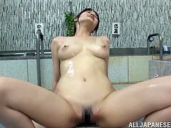 Wet Japanese Cowgirl With Natural tits does hot Foot Fetish to her lover as well as her Tits as their Massage hots up later she is pounded in Reality