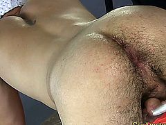 Amateur straight guy getting ass toyed and fingered by gay masseur