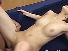 Petite asian babes shaved pussy banged hard before she swallows her creamy facial