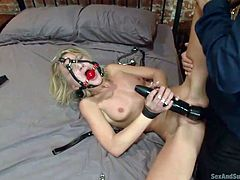 Blindfolded and mouth gagged bitch is fucked hard from behind and with legs spread while stimulating her pussy with a vibrator. The blonde slut with small tits has to suffer extreme rope bondage and suck an angry cock while hanging from the ceiling. Click to see the thrilling kinky details!