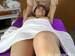 Hot Japanese Lesbians with Natural tits oils her partner as she teased her tits then finger her Hot Ass and their Hairy pussies in a Massage room