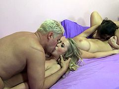Amazing Blondes in Socks makes erotic kissing as they finger Lick all over their bodies then pounded Hardcore in Foursome Cumshot