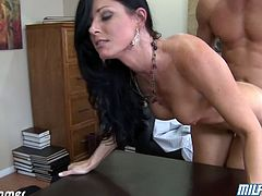 Eat Sleep Porn brings you a hell of a free porn video where you can see how the naughty brunette milf India Summer gets her ass fucked hard heaven while assuming very sexy poses.