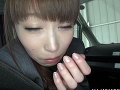 Skinny Japanese Office Girl with Long Hair entices her boss then she sucks gives cute Blowjob to hard cock and Cums In her Mouth In Car Fucking Scene