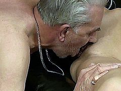 Tall slender babe is seducing an old man to have have sex.She sucks his old bone to raise it and then enjoys master cunnilingus from grandpa.Wet and lubricated he fucks her missionary.After she bangs the old man, he fucks her in the ass causing deep anal pleasures.