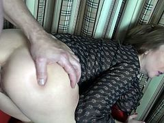 Horny German Melisa takes a big one up her ass and can't have enough if it!
