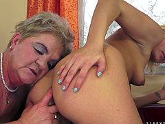 Horny cougar lesbian enjoying her juicy pussy being fingered before moaning while being licked immensely in a reality shoot