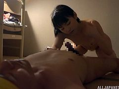 Japanese hussy Tsuna Nakamura strips and shows her body to a guy. After that they have mutual oral sex and fuck in the missionary pose on the floor.