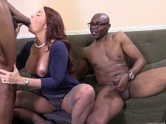 Janet Mason tries her best to satisfy two black studs in MMF clip