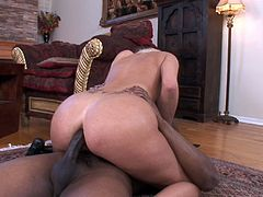 Marvelous cowgirl showcase her hot ass before moaning while her tight anal is being smashed hardcore missionary in interracial sex