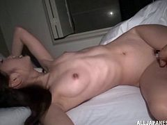 Attractive Asian amateur with small tits and long hair getting her hairy pussy ravished by a vibrator before getting smacked hardcore